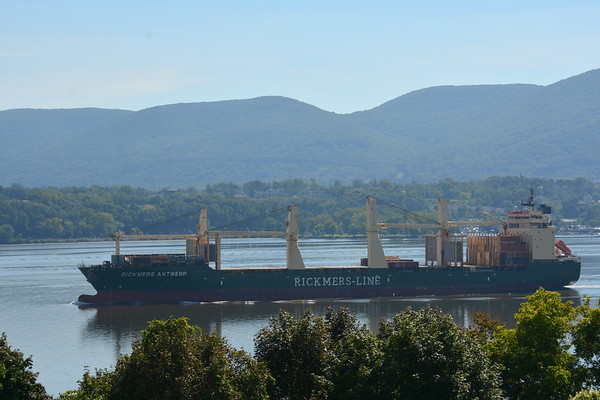 Today 8/4/18 we have Rickmers Antwerp bulk carrier inbound for Port of Albany from Savannah Ga at 10:55 hd hrs. <br /> Good profile on the bridge<br /> lots of deck cargo<br /> Flag Marshall Is<br /> 192 m long or 210 yards or over 2 football fields