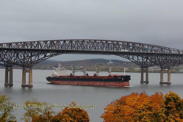 Now that I am back on line after my apple charger went kaput I post 10/29/19 a overcast day at 17:05 hd hrs we have bulk carrier Texas outbound for Norfolk (US). Flag Marshall Islands. <br /> Clamloders isable, hatches cracked, disposable refuse in barrels in differant colors. No bowwatch. <br /> Good profile on the bridge