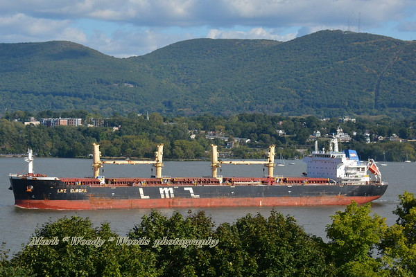Beautiful day for shipshooting 9/18/19 @15:50 hd hrs we have bulk carrier LMZ EUROPA inbound for Port of Albany.<br /> Bow watch visable, deckhand midships in port hatch in blue overalls and great profile on the bridge<br /> Flag Marshall Is <br /> 189.9m +209 yards
