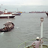 Getting towed out of the harbor in Singapore for seat trials after coming out of the shipyard for maintenance.