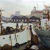 Tugboat and cargo ship in Colombo, Sri Lanka.