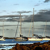 Yachts moored in Ballydorn Bay, Strangford Lough, County Down