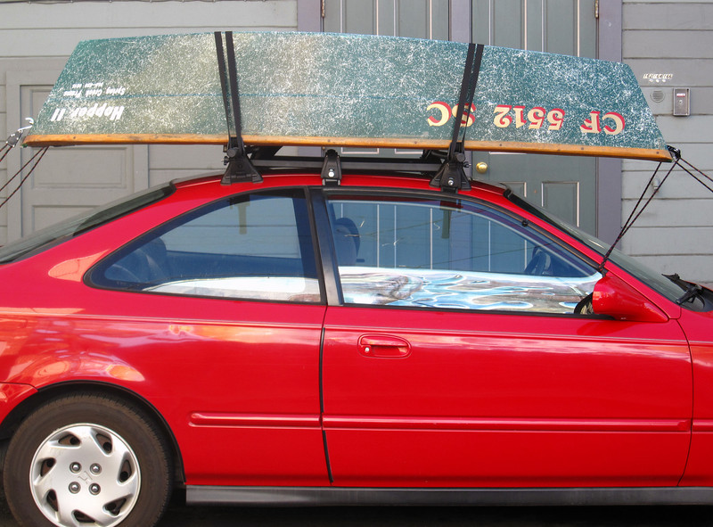 Bringing it home on my Honda Civic.  It's very stable on the roof rack.