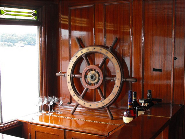 Mahogany bar aboard the Steam Yacht Louise.