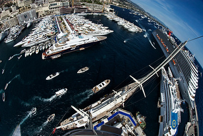 Monaco boat show, September 2012. From the top of Jim Clark's Athena.