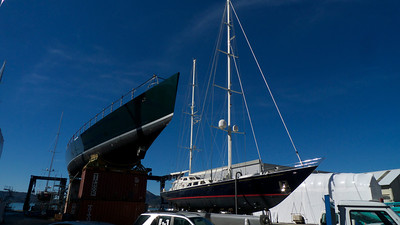 Perini Navi yachts undergoing refits in the group's Picchiotti yard in La Spezia.