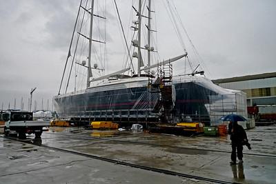 A Perini Navi yacht undergoing a refit in its Viareggio yard.