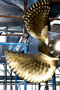 A propellor attached to one of the Azipods on the 73m motor yacht Grace E, due to be launched in July by the Picchiotti yard in La Spezia.