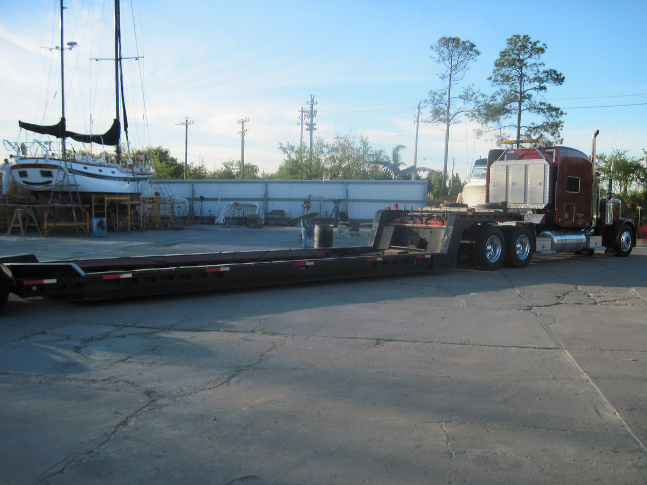 What do you need to move a 42 foot boat? A Big Ass Truck. A 22 wheeler she is...