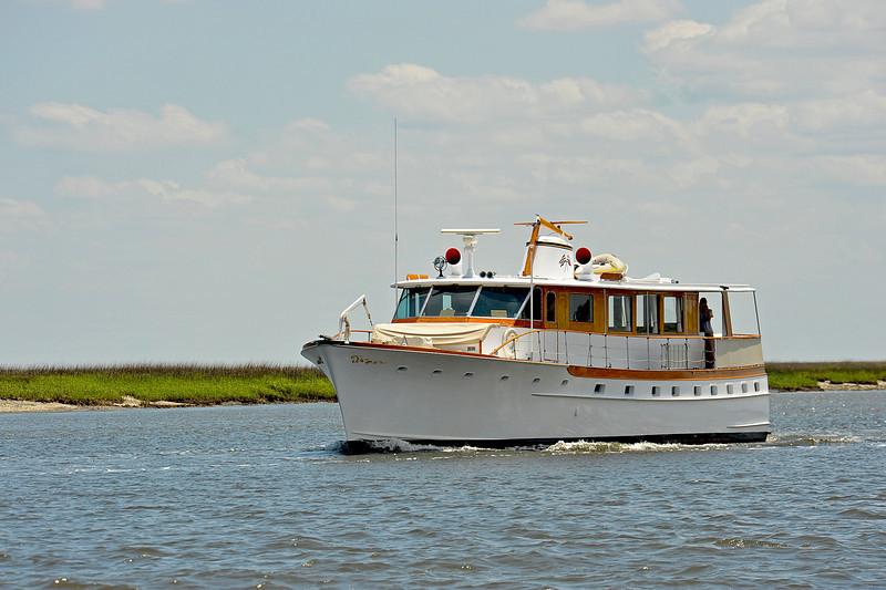 Trumpy Yacht Hummingbird 05-10-10 in Georgia Intracoastal Waterway (ICW) near Plum Orchard of Cumberland Island