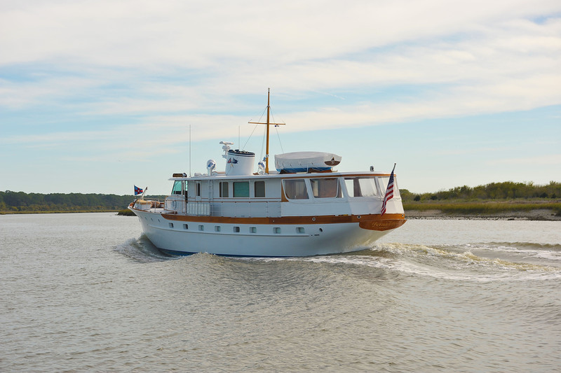 "Trumpy Yacht ""Bernadette"" in Jekyll Creek at Jekyll Island, Georgia on the ICW  11-09-11"