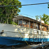 "Trumpy Yacht ""Friendship"" on the rails at George's Boatyard in Darien, GA after her sinking; but now being worked on by new owner 06-03-14"