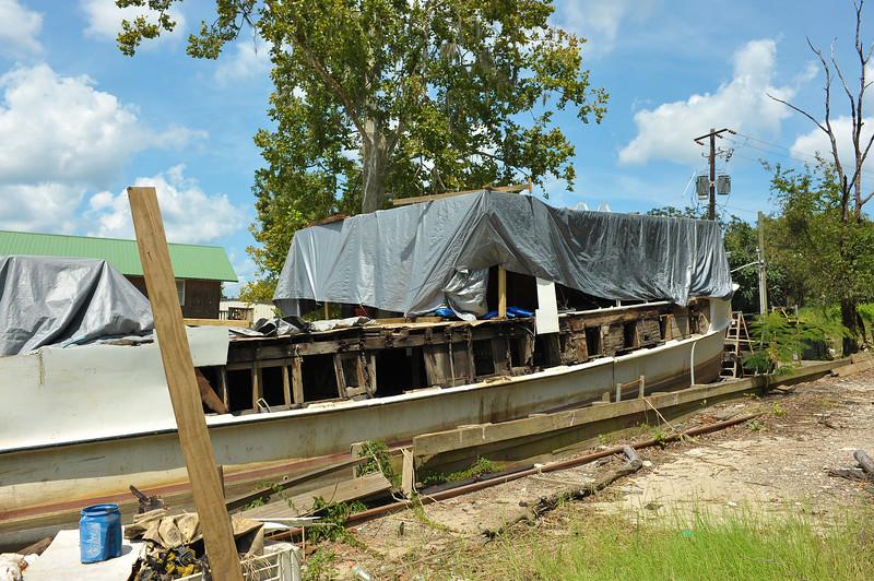 "Trumpy Yacht ""Friendship"" on the rails in Darien, GA 09-03-17"