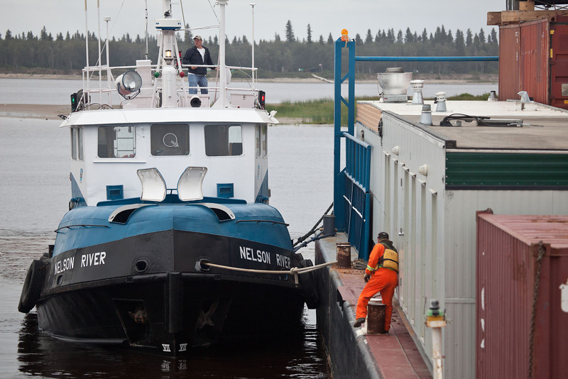 Departure of Moosonee Transport Limited tug Nelson River with barge from Moosonee 2010 August 8th