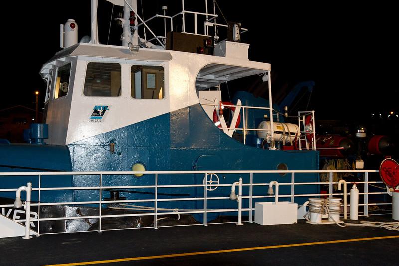 Ontario Northland's new barge Niska I tied up in Moosonee beside tug Nelson River.