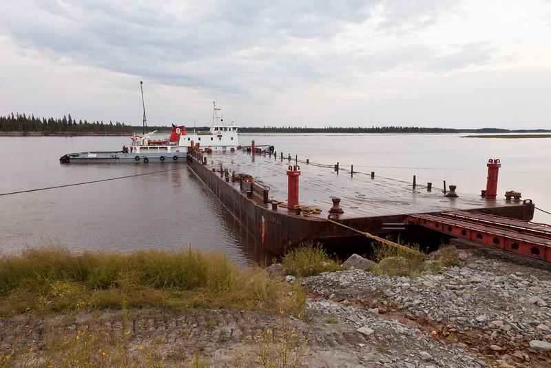 Tug Pat Lyall and barge docked at Moosonee.