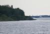 Tug Pat Lyall and barge approaching Moosonee.