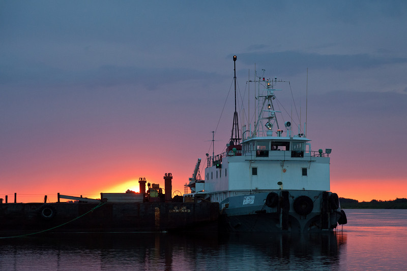Tug Pat Lyall at sunrise in Moosonee.