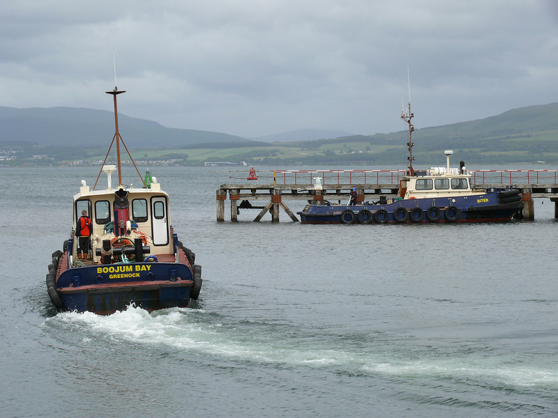Clyde Marine Tugs BOOJUM BAY and BITER wait for WAVERLEY.<br /> 2nd July 2008