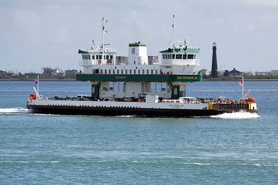 We ride a ferry (just like this one) from Galveston to the Bolivar Peninsula.