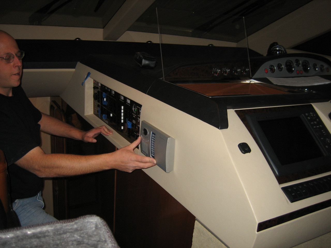 Alarm panel alternate location. Not recommended as it is easy to bump into when you go down the companionway.