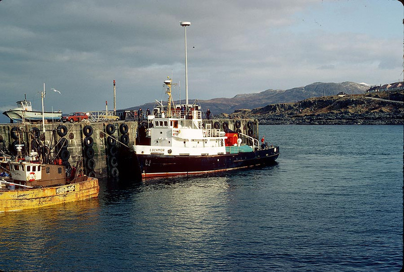 MV 'Lochmor' at Mallaig 11th Feb 1983