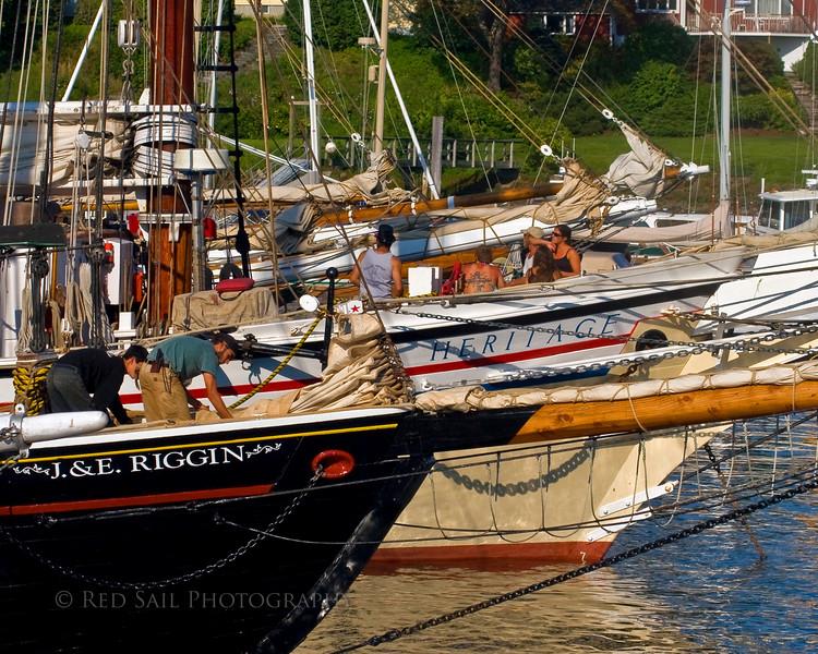 Schooners moored in Camden Harbor, Maine.