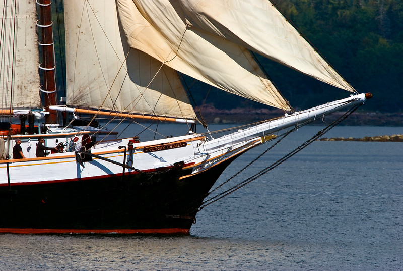 """Bow of the schooner, Victory Chimes sailing the Eggemoggin Reach towards Brooklin Maine for the Windjammer Rendezvous at the Wooden Boat School. For more info about this beautiful schooner go to  <a href=""""http://www.victorychimes.com"""">http://www.victorychimes.com</a>."""