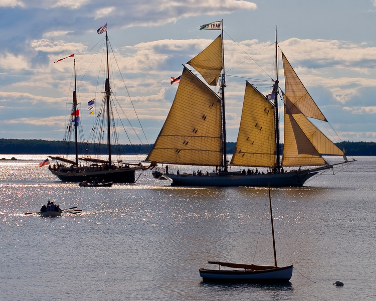 Schooners, Mary Day and Angelique in Northwest Cove for the Windjammers Rendezvous and Wooden Boat School.