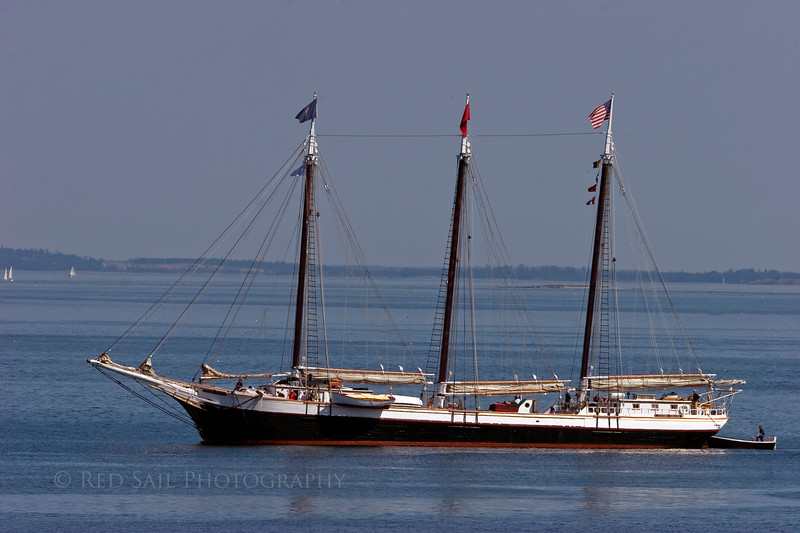 Victory Chimes heading into port. This 132' schooner was built in 1900, Bethel, Delaware. Its the last 3 masted schooner on the east coast. Accomodates 40 guests.