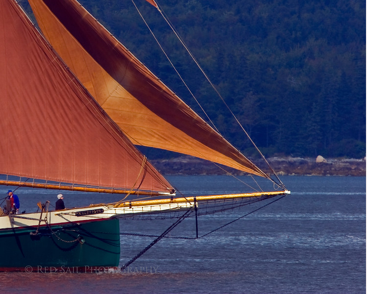 Bow of the schooner, Angelique as it heads for the Windjammer Rendezvous at Wooden Boat School.
