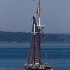 Schooner, Nathaniel Bowditch sailing into Camden Harbor.
