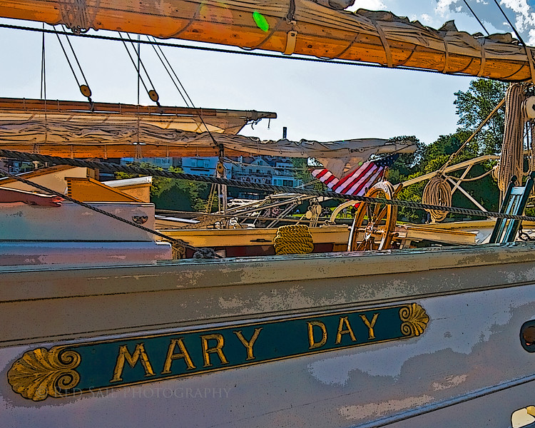 """Schooner, Mary Day as it rests in Camden Harbor, Maine. This beautiful 92' vessel was built in 1962. More info at  <a href=""""http://www.schoonermaryday.com"""">http://www.schoonermaryday.com</a>"""