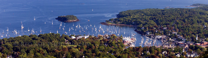 "An expanded view of Camden Harbor. This panorama was taken from atop Mt. Battie. The actual size is 27""x7""."