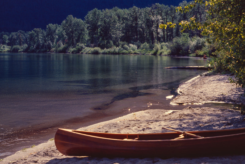 A Wonacott cedar strip canoe on the shore of Lake Wenatchee, Washington, August or September, 1978.