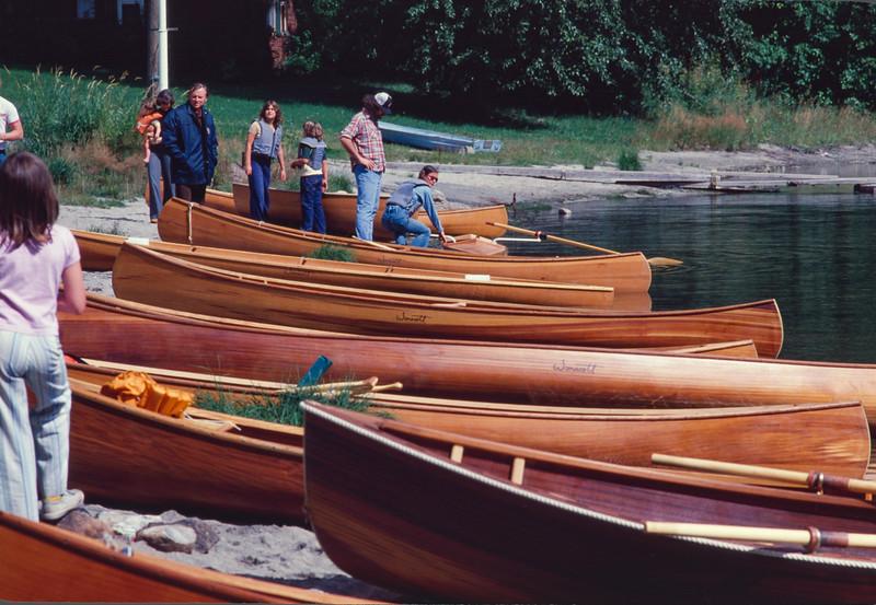 Wonacott factory picnic, Lake Wenatchee, Washington, fall 1978. Both Wonacott customers and factory employees were invited to try out the boats.