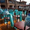 Wedding setup on the bow of the Polaris.  Fruitwood chairs and Tiffany Blue Ties by Lakes Area Rental.  Floral by Lilypots.  Photo courtesy of Matt Mason Photography.
