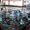 Sit down dinner aboard the Polaris.  Linens, glassware, plates, and chairs by Lakes Area Rental.  Centerpiece by Lilypots.  Photo courtesy of Matt Mason Photography.