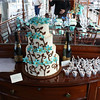 Mahagony buffet aboard the Polaris.  Tiffany Blue Wedding Cake provided by Green Grocer.