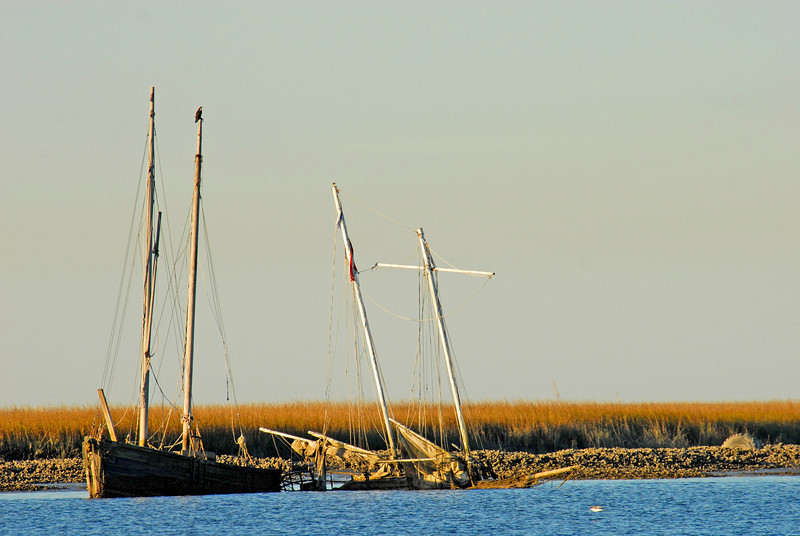 Shipwrecks - near the Amelia River offn the Intracoastal Waterway (ICW) in Florida south of Fernandina Beach. Two sunken sailboats.