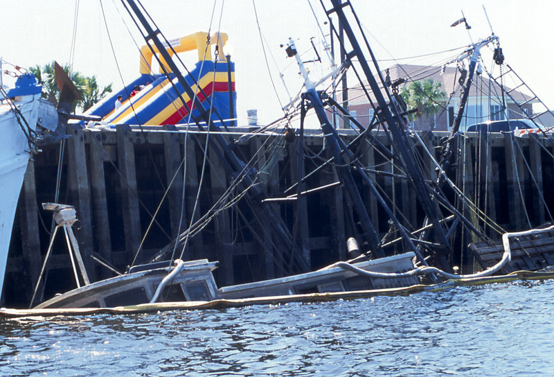 Salvage of the Ben Lee at the Brunswick, Georgia Mary Ross Waterfront Park Shrimpboat Docks
