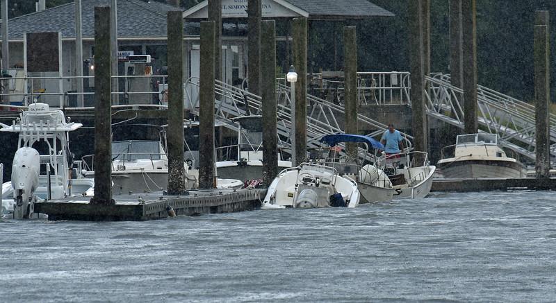 Boat Sinking during storm at St. Simons Marina 07-17-19