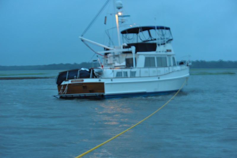 Aground - Salvage operation along the Intracoastal Waterway (ICW) in Georgia near Cumberland Island, Georgia near Brunswick . Vessel aground at high tide during Northeaster with super high tides. Ungrounding by TowBoatUS Brunswick. 05-21-09