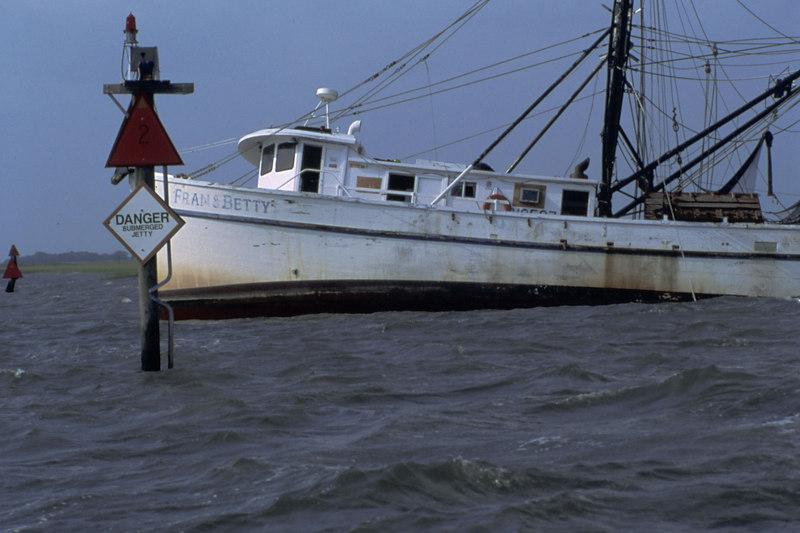 "The Shrimper ""Fran & Betty"" aground on the Jekyll Jetty near Jekyll Island, Georgia"