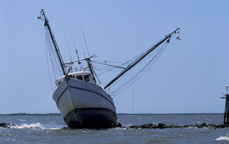 "The Shrimper ""Fran & Betty"" aground on the Jekyll Jetty near Jekyll Island, Georgia"