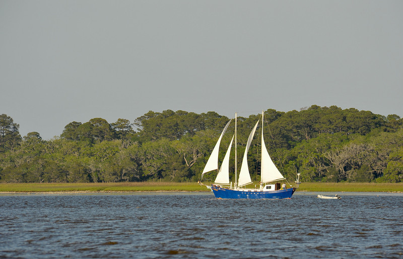 Guanahani Before Grounding in Jekyll Creek. During gale force winds of an extended NorthEaster, a sail unfurled and dragged the vessel out of the Golden Isles Marina Anchorage through St. Simons Sound, down Jekyll Island, and into Jekyll Creek where she finally grounded on the Jekyll Creek Jetty behind the front range marker even with her anchor in tow. Ungrounding by TowBoatUS Brunswick. Image 04-29-09