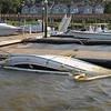 Salvage of 25 foot twin engine boat at Hampton Point Marina at St. Simons Island, Georgia by TowBoatUS Brunswick, Georgia 04-24-12