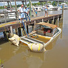 Sunk Twin Inboard-OutBoard Boat at Two Way Marina 06-01-10 in Brunswick, Georgia<br /> Salvage by TowBoatUS Brunswick