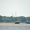 "Sea Hawk Shrimp Boat Sunk on Sandbar near Valona and Brunswick, Georgia just off the Intracoastal Waterway (ICW). Motor yacht ""The Bar-B"" is anchored behind. 05-08-09"