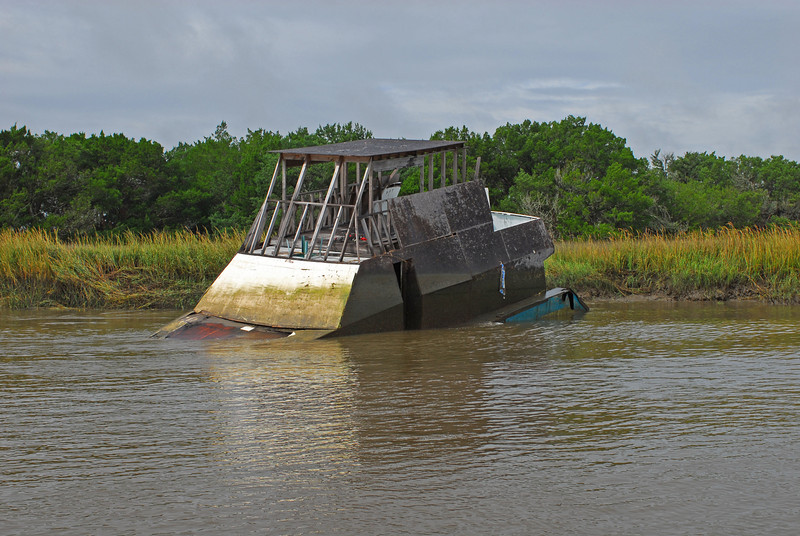 Sunken derelict in Frederica River near Brunswick, Georgia 10-24-07